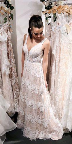 country style wedding dresses a line lace v neckline with straps val stefani