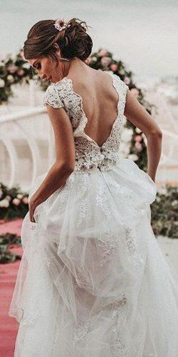 country style wedding dresses a line low back lace cap sleeves ernestovillalba