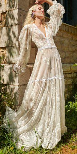 country style wedding dresses vintage boho flowy v neckline long sleeves straight costarellos