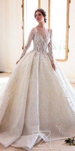 disney wedding dresses tiana ball gown illusion neckline with long sleeves lace ziad nakad