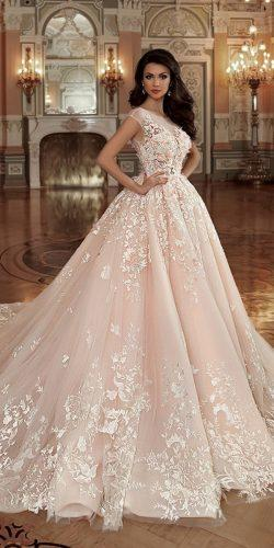fall wedding dresses ball gown lace floral blush naviblue