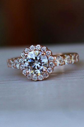 halo engagement rings floral design round diamond pave band