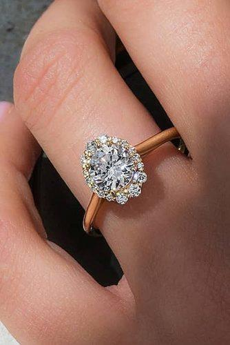 halo engagement rings floral rose gold oval cut diamond