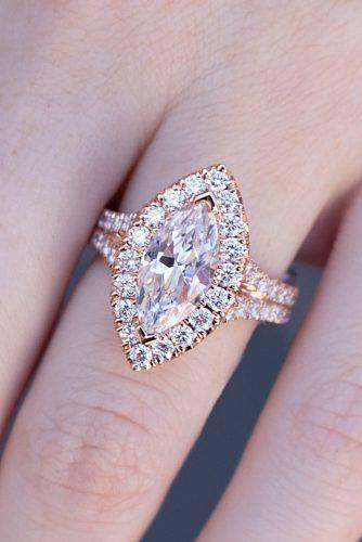 halo engagement rings marquise cut split rose gold