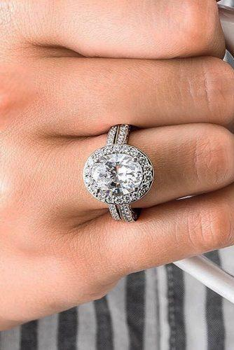 halo engagement rings oval cut diamond white gold pave band