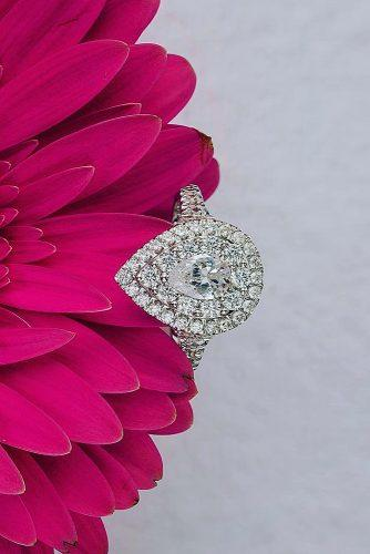 halo engagement rings pear cut double halo pave band