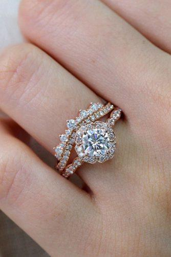 halo engagement rings rose gold unique wedding ring set