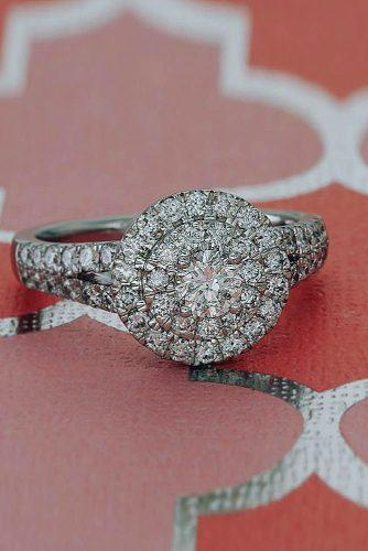 halo engagement rings round cut diamond double halo split band