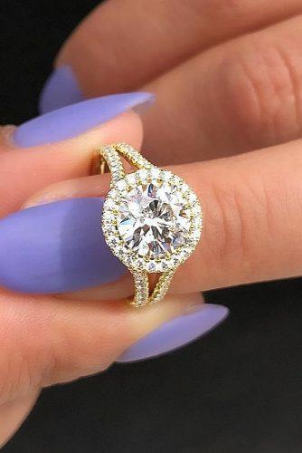 halo engagement rings round cut diamond yellow gold pave band