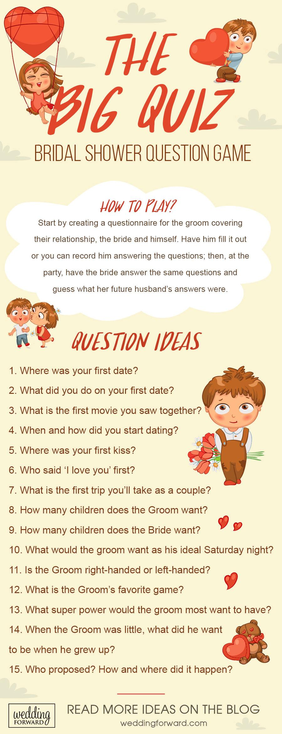 wedding entertainment infographics the big quiz bridal shower question game