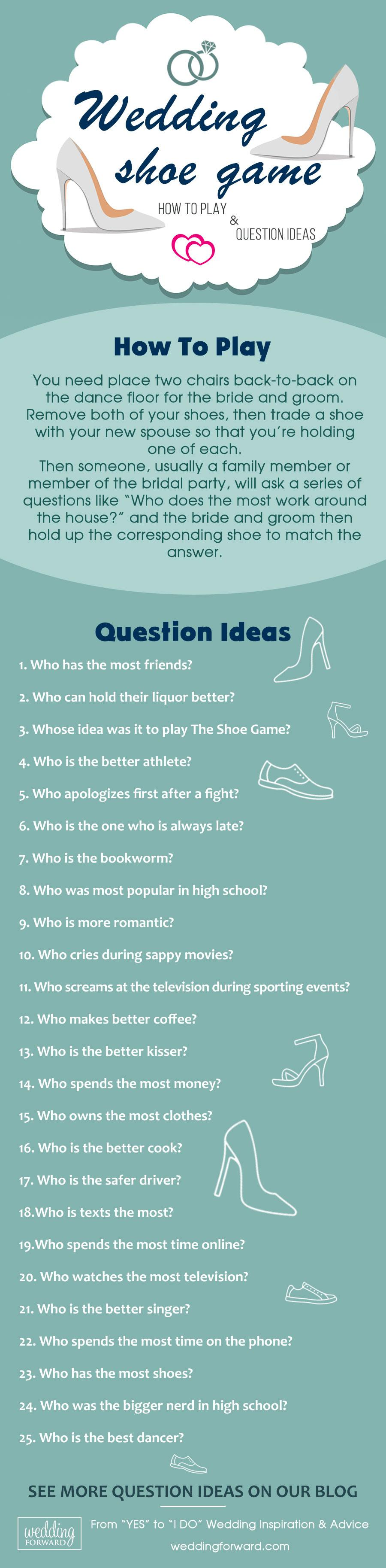 wedding entertainment infographics how to play shoe game question ideas