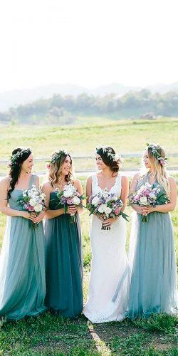 long mismatched one shoulder sweetheart mint bridesmaid dresses jenny yoo