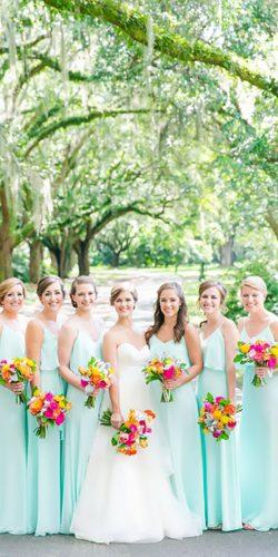 long spaghetti straps mint bridesmaid dresses dana cubbage weddings