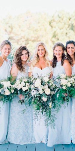 mint bridesmaid dresses long halter neckline sleeveless amsale bridesmaids