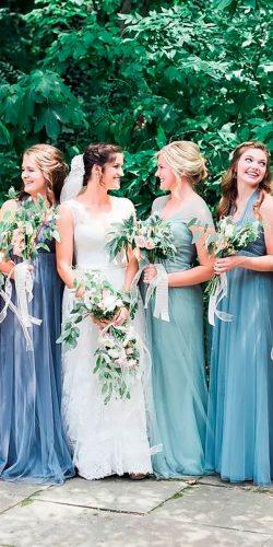 mismatched long mint bridesmaid dresses jenny yoo