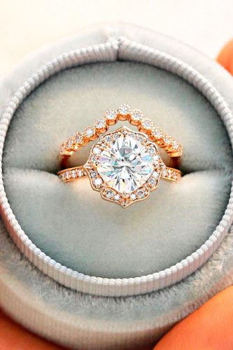 moissanite engagement rings set ring floral cushion gold lamoredesign
