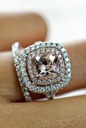 morganite engagement rings cushion cut double halo set pave band