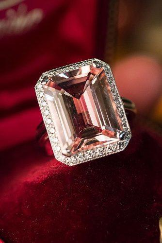 morganite engagement rings emerald cut halo modern