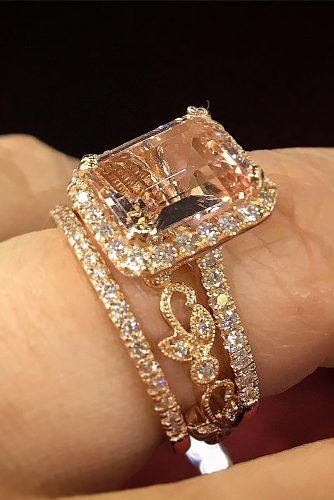 morganite engagement rings emerald cut wedding set