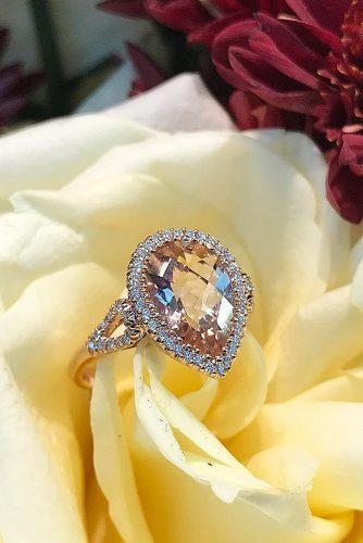 morganite engagement rings halo pear cut pave band