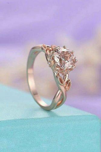 morganite engagement rings rose gold round cut solitaire unique