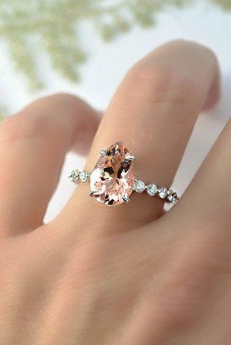 morganite engagement rings solitaire pave band pear cut