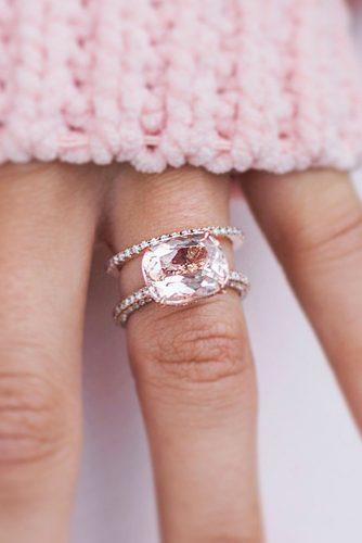 morganite engagement rings wedding set rose gold pave band solitaire