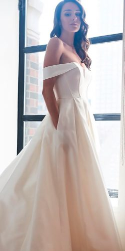 off the shoulder wedding dresses simple modern a line with pockets kelly faetanini