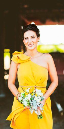 one shoulder lemon yellow bridesmaid dresses teneil kable