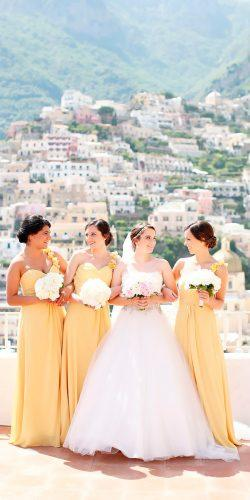 one shoulder long bright yellow bridesmaid dresses kay english