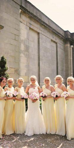 one shoulder long yellow bridesmaid dresses helen russell