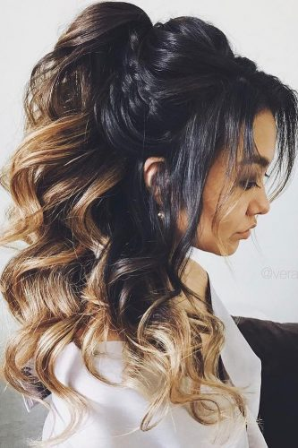 pony tail hairstyles exetremely high ombre verafursova