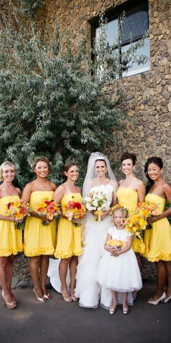 short strapless bright yellow bridesmaid dresses belathee
