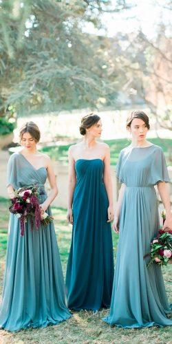 strapless one shoulder with sleeves mismatched mint bridesmaid dresses jenny yoo