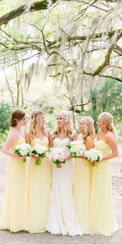 strapless sweetheart long pastel yellow bridesmaid dresses dana cubbage