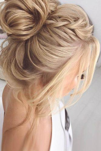 swept back wedding hairstyles high bun with braid elstilespb