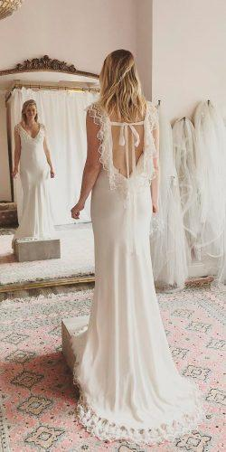 vintage country style wedding dresses low back lace cap sleeves straight the dress theory