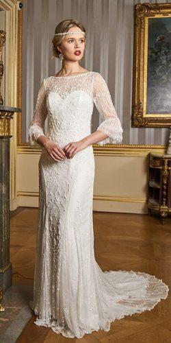 vintage country style wedding dresses sheath lace illusion sweetheart neckline with sleeves eliza jane howell