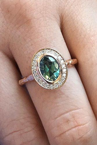 vintage engagement rings oval cut gemstone rose gold halo