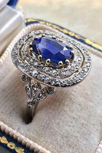 vintage engagement rings oval cut sapphire double halo white gold