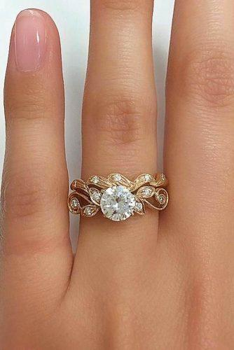 vintage engagement rings rose gold round cut diamond