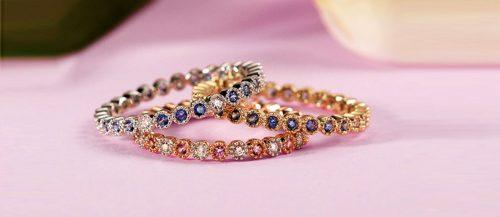 wedding bands for women stackable rings set with gemstone and diamonds in white and rose gold