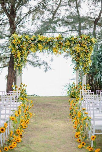 wedding ceremony decorations summer aisle and altar decorated with sunflowers the wedding bliss thailand