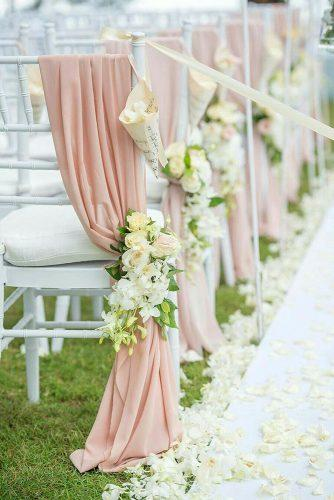 wedding ceremony decorations white flowers and pink drapink decorate the chair darinimages