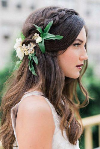 wedding hairstyles with flowers for dark medium hair whiskersandwillow
