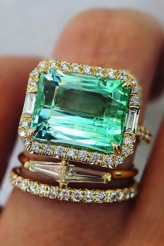 wedding rings for women emerald cut halo set tourmaline