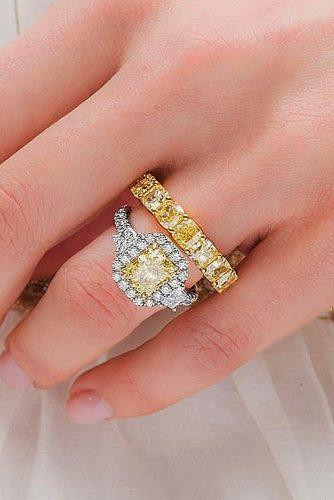 wedding rings for women modern diamond yellow halo