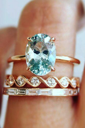 wedding rings for women solitaire oval cut rose gold aquamarine