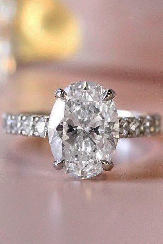 white gold engagement rings oval cut solitaire pave band