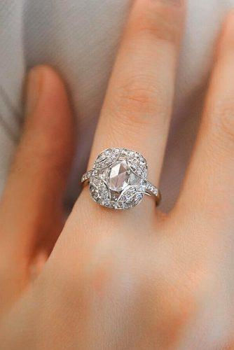 white gold engagement rings oval cut vintage halo